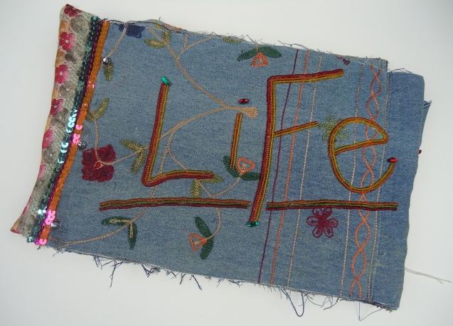 "Life (Cover), 9""x11"", beads, sequins on found denim, 2014"