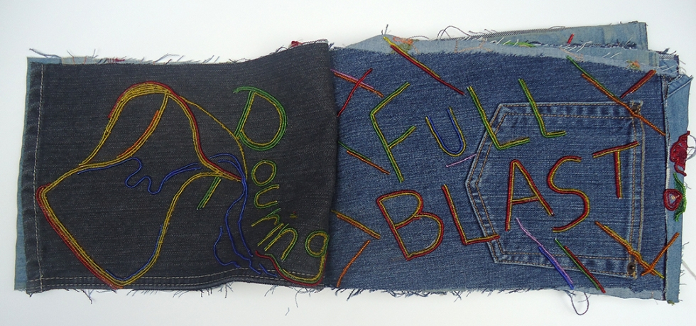 "Life (Pouring Full Blast), 9""x22"", beads on found denim, 2014"