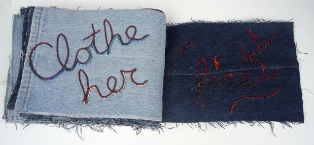 "Praise (Clothe Her In Fire), 9""x22"", beads on found denim, 2014"