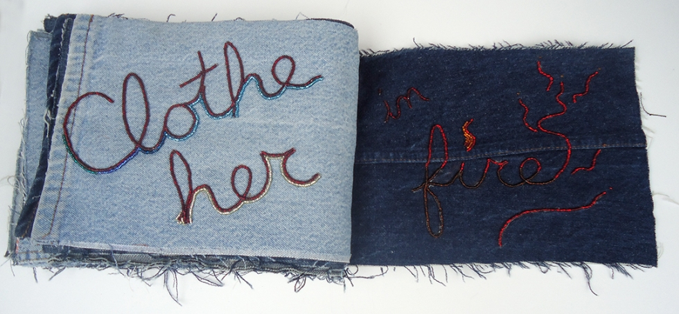 "Praise (Clothe Her In Fire), 9""x22"", beads on found denim, 2014"
