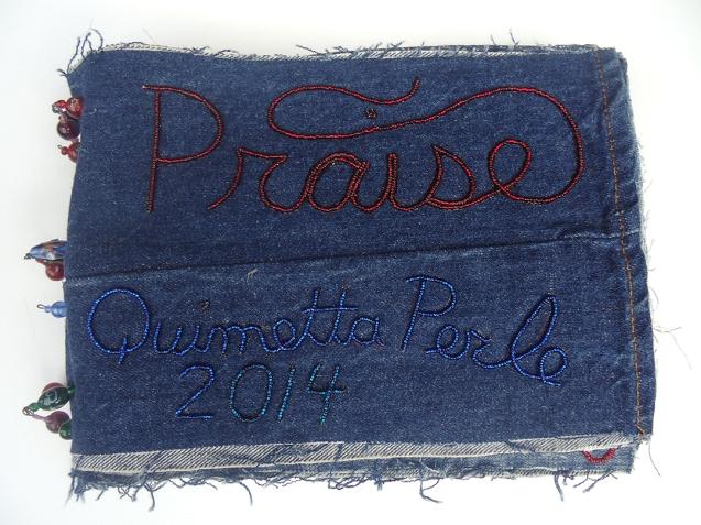"""Praise, 9""""x11"""", beads on found denim, 2014"""