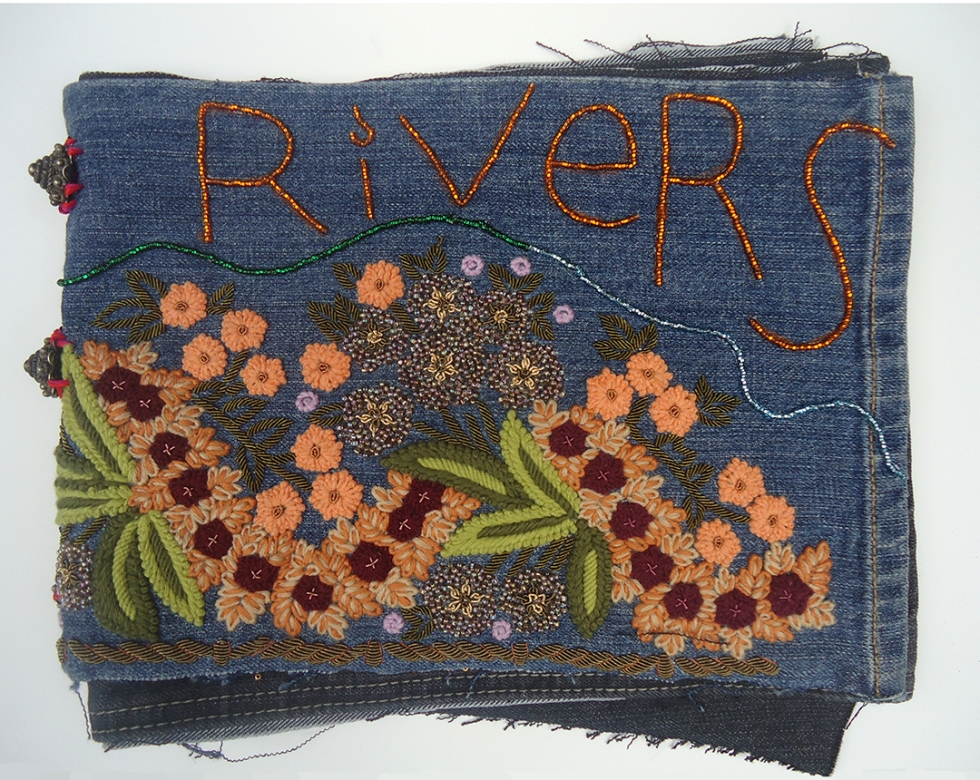"Rivers (Cover), 9""x11"", beads on found denim, 2014"